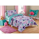 Adorable, Soft, Feels like Royalty, Mainstays Kids Princess Magic Quilt, with Images of Castle, Wand, Crown, Carriage, Unicorn, Frog Prince, Blue/Purple, Twin/Full