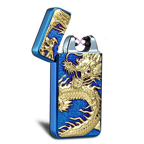 - Kivors USB Rechargeable Windproof Flameless Electronic Double Pulse Arc Lighter Belief Chinese Dragon Lighter