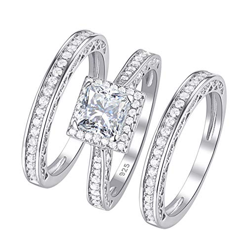 Wuziwen Engagement Wedding Ring Set for Women 925 Sterling Silver Princess White Cz 3pcs Size 7