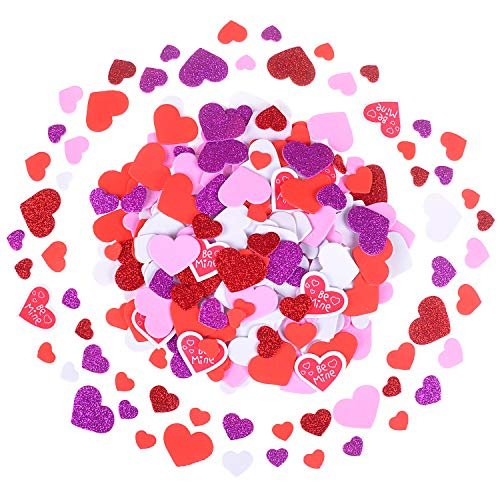 Olgaa 500 Pieces Foam Stickers Heart Shaped Self-Adhesive Stickers Assorted Colors Mini Heart Shapes Foam Stickers for Valentine
