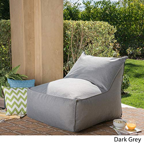 Christopher Knight Home Tulum Outdoor Water Resistant Fabric Bean Bag Lounger Dark Grey