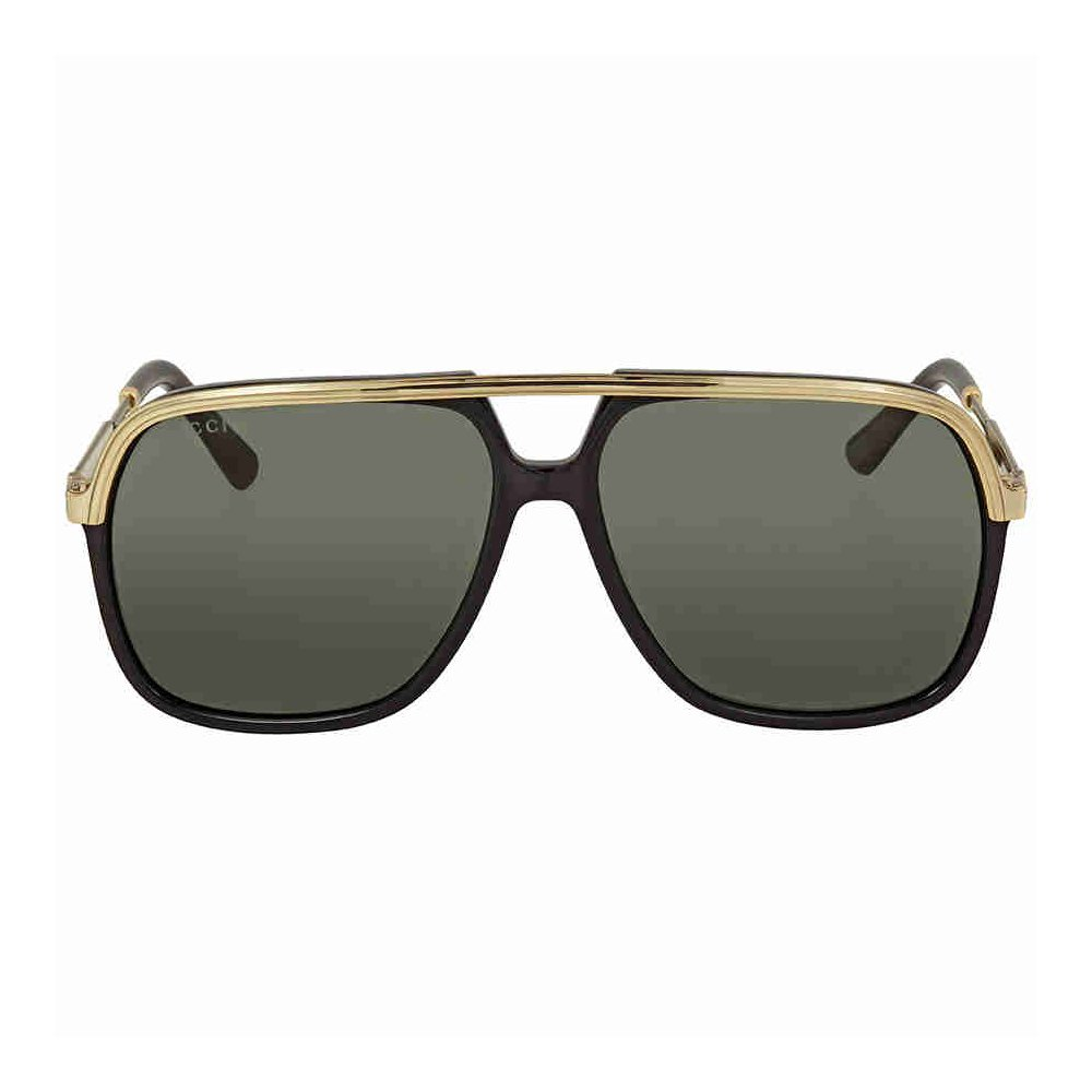 4d253b3ee5 Gucci GG0200S 001 Black Gold Square Pilot Sunglasses Lens Category 3 ...