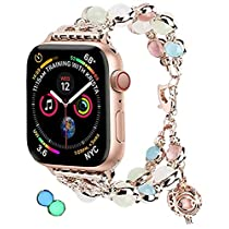 Tomazon Luminous Band Compatible for Apple Watch Band Series 4/3/2/1, Glow Pearls & Perfume Storage 38mm/40mm/42mm/44mm Adjustable iWatch Bracelet Women Ladies Strap Loop Wristbands Christmas Gift