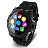 VSSPEED N10 Waterproof Swimming Smart Watch for Man Woman Bluetooth SmartWatch for Outdoor Sports Phone Calling Business for IOS Apple Andriod Smart Phones (Black Leather Strap)