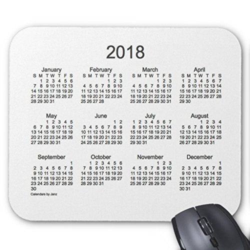 Zazzle 2018 Charcoal and White Calendar by Janz Mouse Pad -