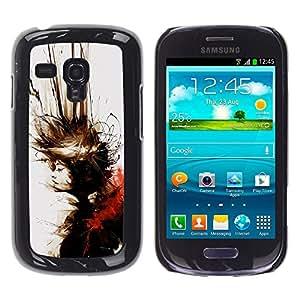 CASECO - Samsung Galaxy S3 MINI 8190 - Abstract Splash Blonde - Delgado Negro Plástico caso cubierta Shell Armor Funda Case Cover - Abstract Splash Rubio