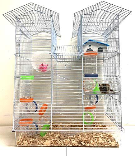 Large 5 Floor Twin Towner Habitat Syrian Hamster Rodent Gerbils Mouse Mice Rat Cage (Transparent Clear)