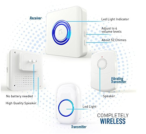 CROSSPOINT Extra Add-On Portable Vibrating Receiver for the Expandable Wireless Multi-Unit Long Range Doorbell Alert System, White