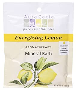 Aura Cacia Aromatherapy Mineral Bath, Energizing Lemon, 2.5 ounce packet (Pack of 3)