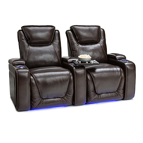 Home Movie Theater Chairs (Seatcraft Equinox Home Theater Seating Power Recline Leather (Row of 2, Brown))