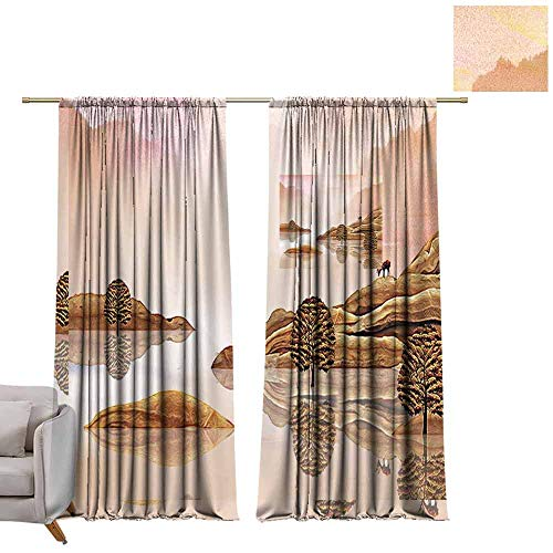 (berrly Tie Up Window Drapes Living Room Beautiful Landscape, Chinese Painting (4) W108 x L84 Pocket Thermal Insulated Tie Up Curtains)