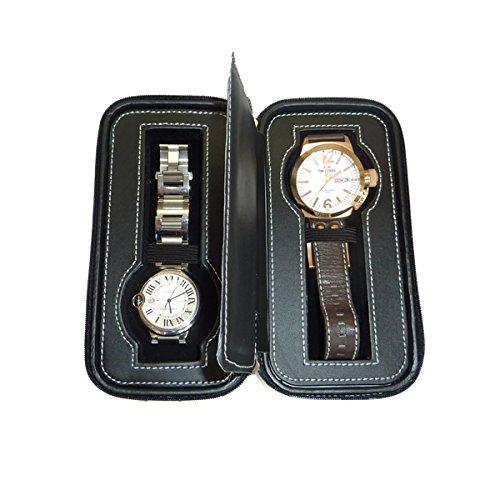 Black Two 2 Piece Zippered Watch Travel Case Black Interior Storage Organizer Watch Collection Travel Bag