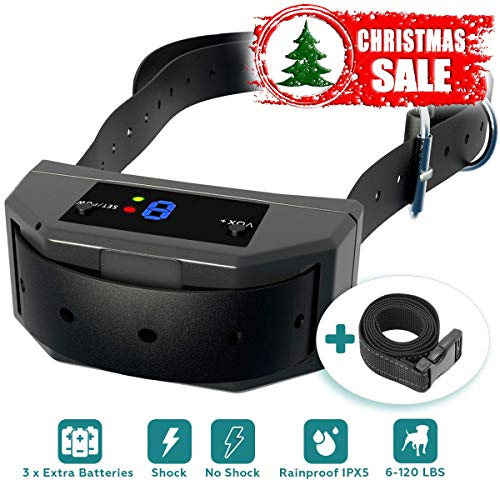 ustries [Newest 2019] Bark Collar Upgraded Microprocessor Barking Detection Best No Bark Device W/ 3 Extra Batteries Beep, Vibration, Shock for Small, Medium, Large Dogs ()
