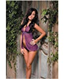 Dreamgirl International Diamond Seduction Sheer Mesh Babydoll & Thong Purple One Size