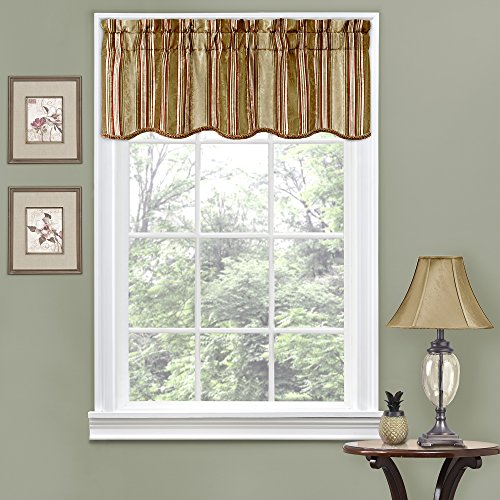 Traditions By Waverly Stripe Ensemble Scalloped Window Valance, 52x16, Antique
