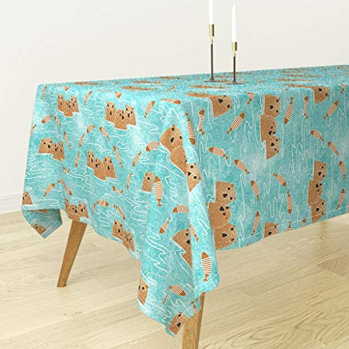 Roostery Lake Otters Tablecloth - Whimsical Lake Decor Lake Water Otter Fish Cute Otters Pond Nursery Decor by Vo Aka Virginiao - Cotton Sateen Tablecloth 70 x 108 ()