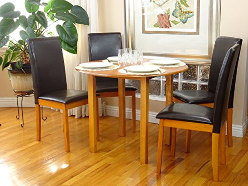 (Rattan Wicker Furniture Dining Kitchen Set 5 Pcs Classic Round Table and 4 Solid Wooden Chairs Fallabella Maple Finish )