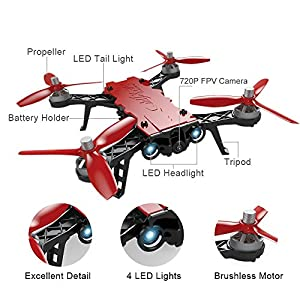 YOUDirect MJX Bugs 8 Pro FPV RC Drone Racing Helicopter Quadcopter 2.4G 6-axis Gyro 3D Flips Angle/Acro Mode Switch High Speed Training Quadcopter with 5.8G FPV camera, and 2 Batteries by YOUDirect