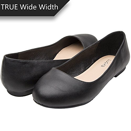 (Luoika Women's Wide Width Flat Shoes - Comfortable Slip On Round Toe Ballet Flats. (180110 Black PU,10WW))