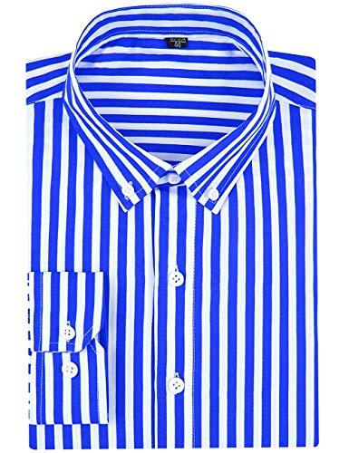 DOKKIA Men's Casual Long Sleeve Vertical Striped Slim Fit Dress Shirts (Royal Blue White, X-Large)
