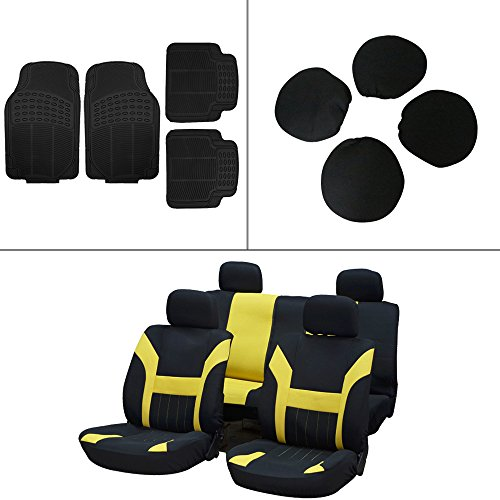 Scitoo 12-PC Front Rear Car Floor Mats Black/Yellow Car Seat Cover for Heavy Duty Vans Trucks by Scitoo