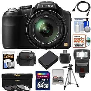 Panasonic Lumix DMC-FZ200 Digital Camera (Black) with 64GB Card + Case + Battery + Flash + 3 UV/CPL/ND8 Filters + Tripod + HDMI Cable + Accessory Kit