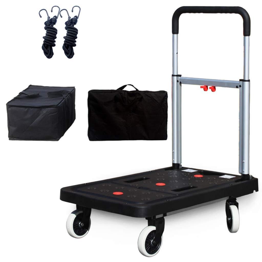 Carrello pieghevole a mano da 330 lbs Capacità - Carrello a 4 ruote Ruota TPR Carrello girevole a 360 ° per bagagli, viaggi, acquisti, auto, spostamenti e uso ufficio (Design   Package 5)