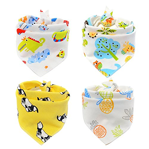 Scheppend Pet Bandana Triangle Bibs Cotton Neckerchirf Comfortable Scartfs for Small Medium Dogs and Cats, 4 Packs (Style1) by Scheppend