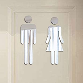 Usstore Removable Cute Man Woman Washroom Toilet WC Wall Sticker Family DIY Decor Art Stickers Home