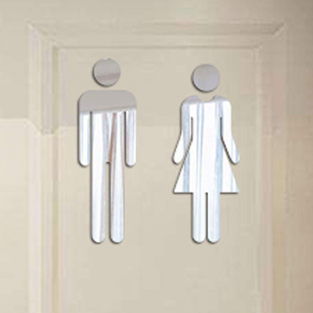 Usstore Removable Cute Man Woman Washroom Toilet WC Wall Sticker Family DIY Decor Art Stickers Home Decor Wall Art for Kids Living Room Home Decoration (Only 1 Piece WC Sticker Include)