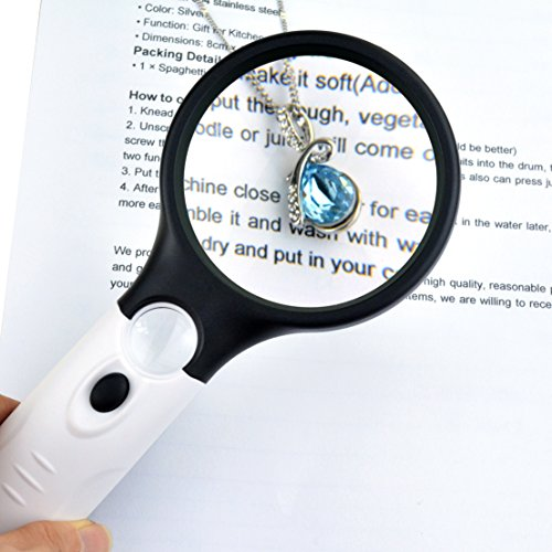 obmwang 3 LED Light 3x 45x Handheld Magnifier Reading Magnif