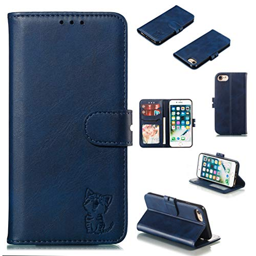 Tom's Village Lovely Cute Cat Wallet Case for iPhone 7/8 Premium PU Leather Magnetic Flip Cover Shockproof Flexible Soft TPU Shell Ultra Slim Protective Bumper ID/Credit Card Slots Kickstand Dark Blue