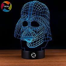 3D Optical Illusion Night Light - 7 LED Color Changing Lamp - Cool Soft Light Safe For Kids - Solution For Nightmares - Star Wars Darth Vader
