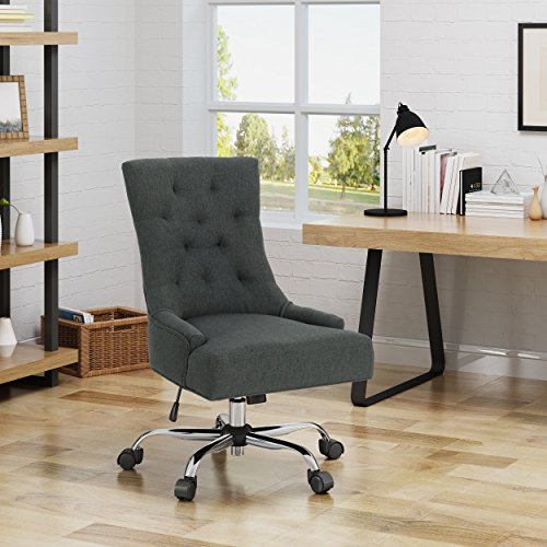 Christopher Knight Home 304965 Bagnold Desk Chair Dark Gray Chrome