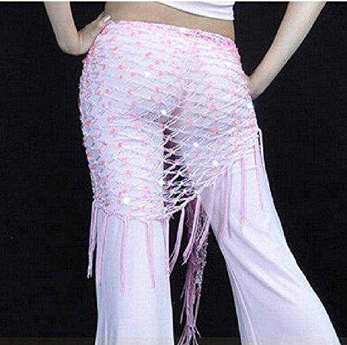 Jesica Belly Dance Triangle Fishing Net Tassel Waistband (Pink)