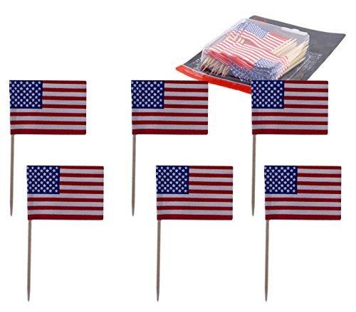 Pack of 200 USA Flag Picks, Decorative American Flag Wood Picks (American Flag Cupcake Picks)