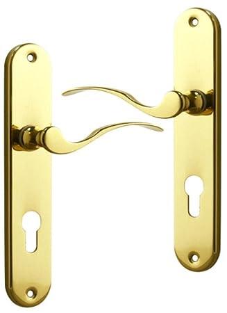 Maniglia Per Porta Esterna Design In Ottone Lucido Su Placca