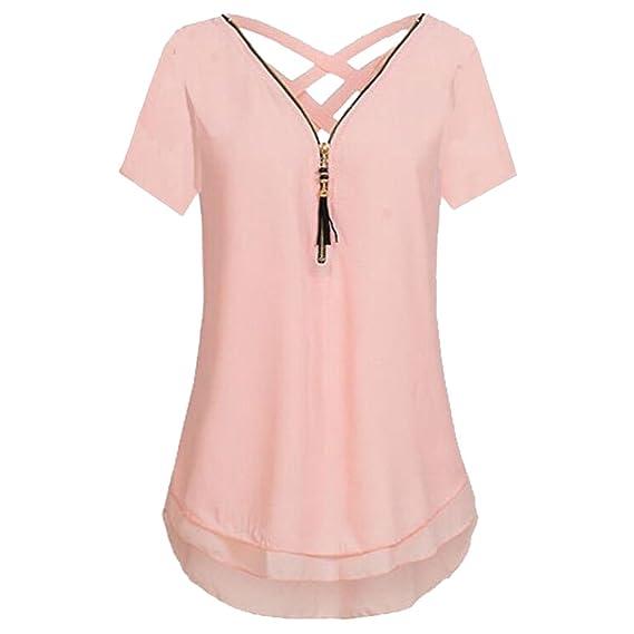 Ushero Mujeres Camisetas Blusa Casual Manga Corta en Cuello V Camisa de Gasa Dobladillo Irregular para