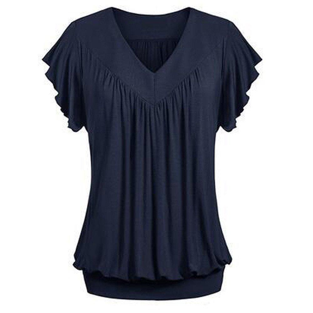 piabigka 2019 Nouveau !!! T-Shirts À Manches Courtes pour Femmes - T-Shirt en Mousseline Plissée (S-5Xl)