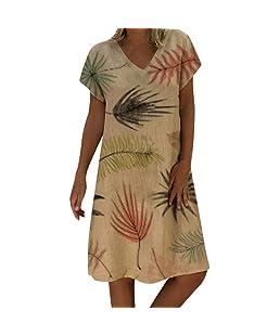 Robe Été Femme de Plage Mode V Style Lin Imprimé Feuilles Robes au Genou Manches Courte Casual Style National Châle Confortable Vacances Robe Jupe Jupons JiaMeng