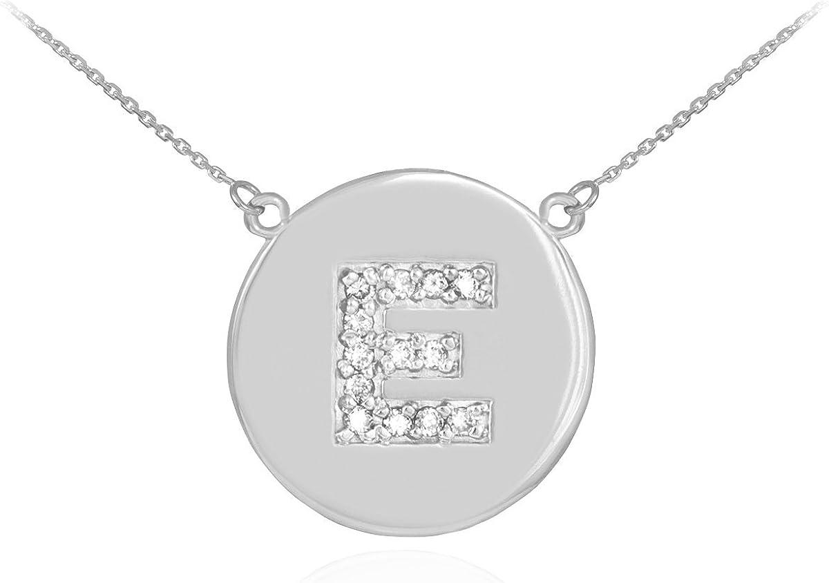 14k White Gold Letter E Initial Diamond Disc Necklace