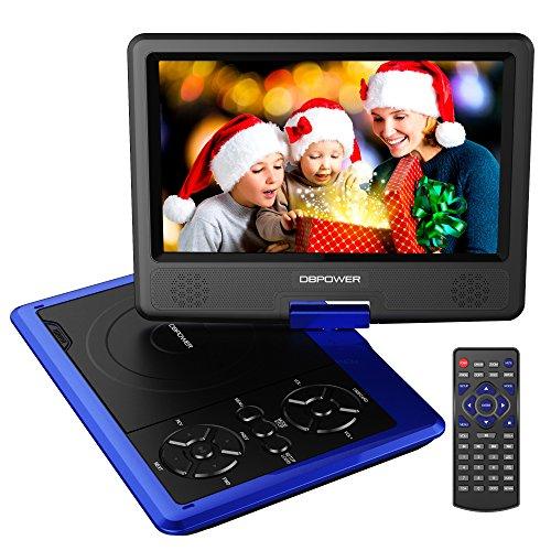DBPOWER 9.5'' Tragbarer DVD-Player, 5 Stunden Akku, schwenkbaren Bildschirm, unterstützt SD-Karte und USB, mit Spiele-Joystick, Auto-Ladegerät--Blau
