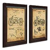 Harley Davidson Patent Prints - Framed Behind Glass 14x17 (Two Bikes - 2pc Set)