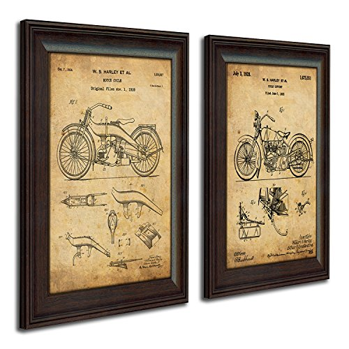 Harley Davidson Patent Prints - Framed Behind Glass 14x17 (Two Bikes - 2pc Set) - Harley Motorcycle Art