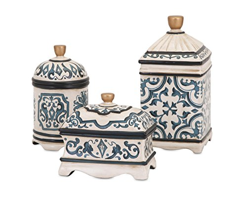 IMAX Corporation Beth Kushnick 3 Piece Ceramic Box Set in Blue from Imax