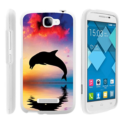 Alcatel One Touch Fierce 2 Case | POP Icon Case [Slim Duo] Hard Shell Snap On Case Fitted Protector Matte on White Sea Ocean Design by TurtleArmor - Dolphin Jump