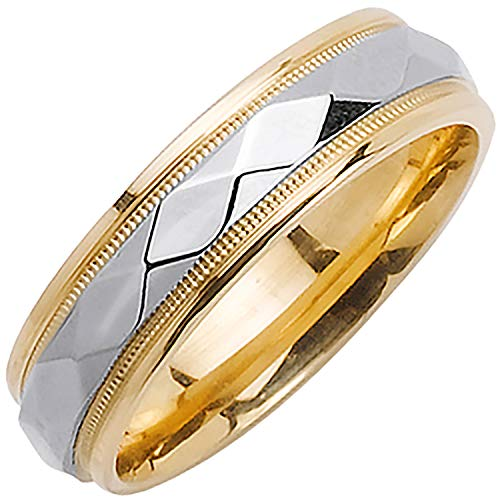 18K Two Tone (White and Yellow) Gold Diamond Pattern Men's Wedding Band (6mm) Size-12.5c2 ()