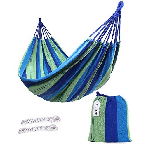 Kottle Outdoor-weicher Baumwolle Stoff brasilianische Hängematte doppelte Breite 2 Person Reisen Camping Hängematte (Orange)