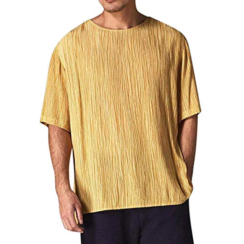 POQOQ Men's Casual Blouse Linen T-Shirt Loose O-Neck Tops Short Sleeve Tee Shirt(Gold,XL)]()