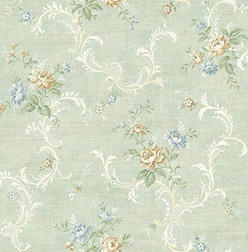Tossed Floral Scroll Wallpaper in Vintage Blue MV80102 from Wallquest